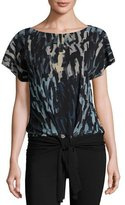 Fuzzi Short-Sleeve Tie-Waist Abstract-Print Top, Black/Blue