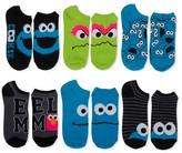 Sesame Street Women's Blue Cookie Monster Low-Cut 6-Pack Socks - Black 9-11