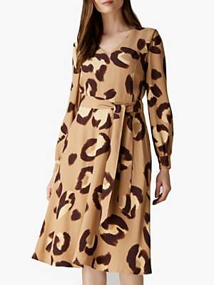 Jaeger Animal Print Waist Belt Dress, Camel