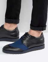 Asos Derby Shoes in Black Leather With Navy Mesh