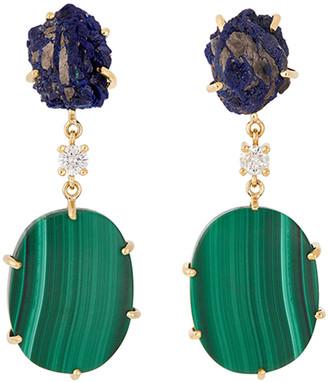 Jan Leslie 18k Bespoke 2-Tier Tribal Luxury Earrings w/ Raw Azurite, Malachite & Diamonds