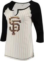 New Era Women's 5th & Ocean by White/Black San Francisco Giants Pinstripe 3/4-Sleeve Notch Neck Raglan T-Shirt