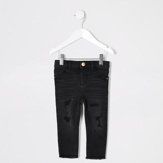 River Island Mini girls Black wash ripped Molly jeans