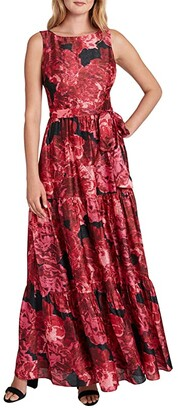 Tahari ASL Sleeveless Tiered Maxi Dress (Wild Aster Shimmer) Women's Dress