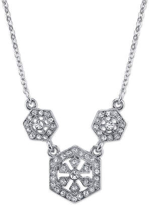 "Downton Abbey Silver-Tone Crystal Necklace 16"" Adjustable"
