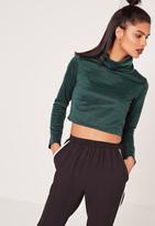 Missguided Turtle Neck Crop Sweatshirt Green