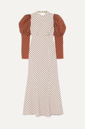 REJINA PYO Sibylle Draped Two-tone Polka-dot Crepe Midi Dress - Ivory