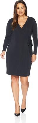 Lark & Ro Amazon Brand Women's Plus Size Signature Long Sleeve Wrap Dress