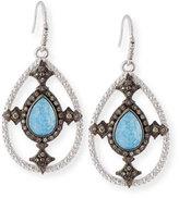 Armenta New World Blue Quartz Triplet Shield Drop Earrings with Diamonds