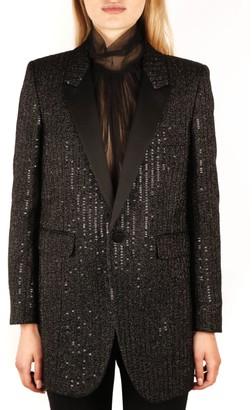 Saint Laurent Black Silk Sequined Blazer