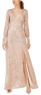 Emerald Sundae Juniors' Sequined Slit Maxi Gown