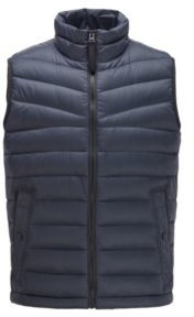HUGO BOSS Down Filled Gilet With Water Repellent Outer - Dark Blue