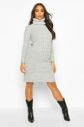 boohoo Cable Knitted Roll Neck Midi Dress