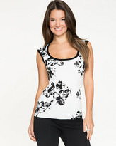 Le Château Floral Scoop Neck Sweater Shell