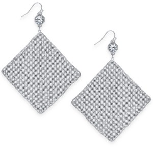 Thalia Sodi Silver-Tone Crystal Mesh Drop Earrings, Created for Macy's