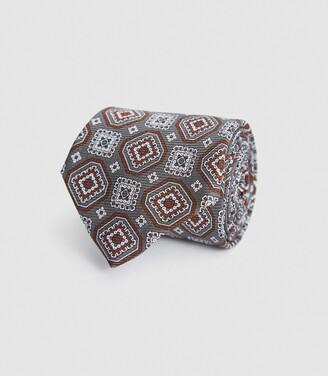 Reiss Luka - Silk Medallion Tie in Grey
