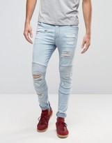 Asos Super Skinny Jeans With Rips In Biker Style Bleach Wash