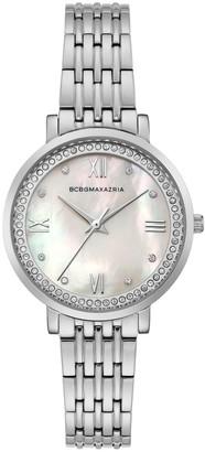 BCBGMAXAZRIA Classic Stainless Steel & Crystal Bracelet Watch