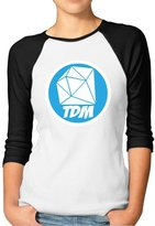 Hera-Boom Women's Minecraft Daniel Middleton DANTDM Logo 3/4 Sleeve Baseball Tee Shirt M (2 Colors)