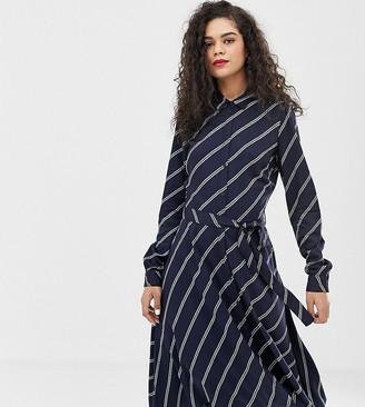Vero Moda Tall diagonal stripe shirt dress-Navy