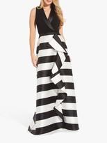 Adrianna Papell Mikado Monochrome Stripe Dress, Black/Ivory