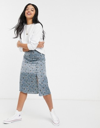 Hollister midi skirt in blue floral