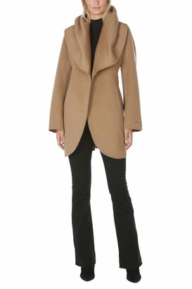 T Tahari Women's Double Face Wrap Coat with Oversized Collar