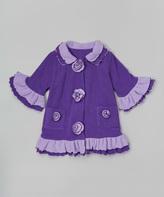Paperdoll Purple Fleece Ruffle Coat - Toddler & Girls
