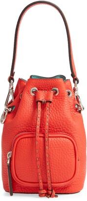 Fendi Mini Mon Tresor Logo Leather Bucket Bag