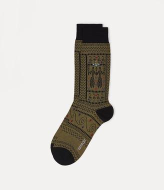 Vivienne Westwood Greek Pattern Jacquard Socks With Motif Black