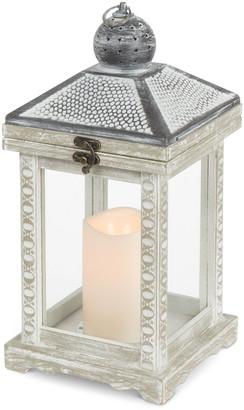 Everlasting Glow 14In White Brushed Wood Lantern