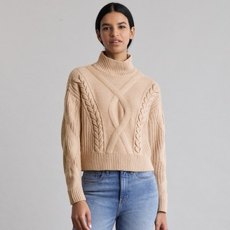 Elizabeth and James Women's Cable-Knit Turtleneck Sweater