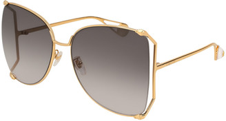 Gucci Oversized Metal Butterfly Sunglasses, Gold/Gray