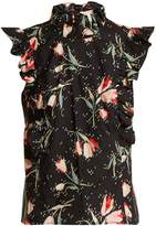 Rebecca Taylor Ikat-effect tulip-print cotton top