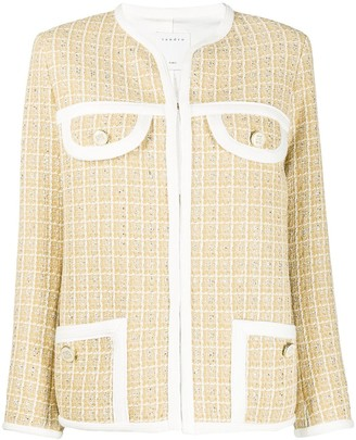 Sandro Paris Tweed-Style Round Neck Jacket