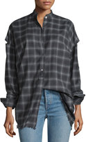 Helmut Lang Tabbed-Sleeve Plaid Open-Back Shirt, Charcoal Melange