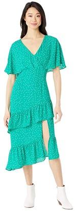 BB Dakota Long Way Micro Dot Printed CDC Midi Dress (Pepper Green) Women's Clothing