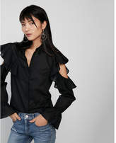 Express cut-out ruffle button-up blouse