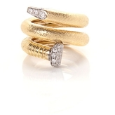 David Webb Hammered Gold Nail Ring With Diamonds