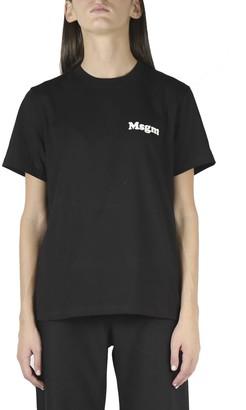 MSGM Bold Logo Crew Neck T-shirt In Black Cotton