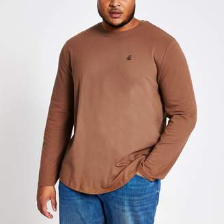 River Island Mens Big and Tall Brown R96 long sleeve T-shirt
