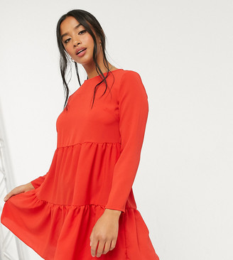 ASOS DESIGN Petite long sleeve tiered smock mini dress in red