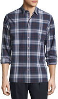 Vince Plaid Linen-Blend Long-Sleeve Sport Shirt