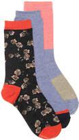 Lucky Brand Roses Crew Socks - 3 Pack - Women's
