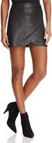 Alice + Olivia Lennon Side Zip Leather Mini Skirt