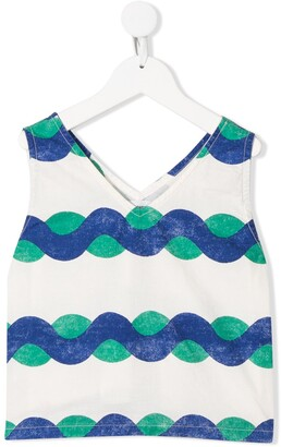 Bobo Choses V-neck wave print tank top