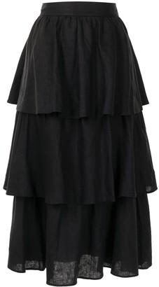 Rebecca Vallance Layla tiered midi skirt