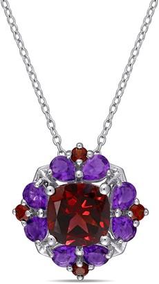 Sterling Silver 4.40 cttw Garnet & Africa Amethyst Necklace