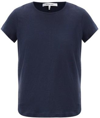 Frame Slubbed Linen-jersey Crew-neck T-shirt - Womens - Navy