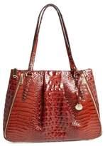 Brahmin Melbourne - Adina Croc Embossed Leather Satchel - Brown